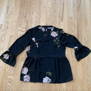 Black with Pink Flower Blouse Size S